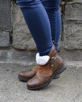 النساء الكاحل الأحذية منخفضة الكعب خمر بو الجلود الشتاء الخريف الثلوج الدافئة ماتين الأحذية زائد حجم الجوارب امرأة موهير zapatos D20881