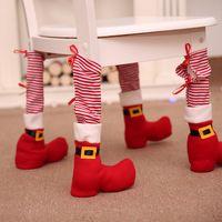 Рождественский Председатель Foot Обложка Красный Полосатый Ресторан Стол для ног Обложка Houseware Стол Стул Защита Охватывает текстурированные XAMS Украшение RRA3681