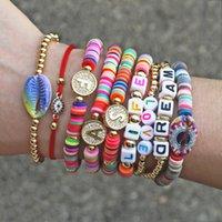 New Boho Brief Regenbogen Charm Armband Männer Frauen Fashion 26 Alphabete Cz Strand Gold-Namensarmbänder für weibliche Paare Schmuck