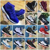 Yüksek Kesim Yeni 11 Kadife Heiress Kırmızı Mavi Gri Süet Basketbol Ayakkabıları Erkekler Uzayları Reçeller 11s XI 13 12 4 Otantik Spor Ayakkabı