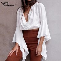 Celmia frauen kurze shirts sommer flaume sleeve blusen mode unregelmäßige rüschen v-ausschnitt solide casual tops damen blusas plus size1