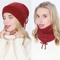Wholesale-Multifunction drawstring Hat neckerchief fleece lined winter warm Beanie Skull Cap Neck for women will and sandy gift