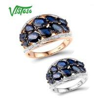 Кластерные кольца Vistoso Pure 14K 585 роза / белое золотое кольцо для женщин, сияющих бриллиант синий сапфир роскошные свадебные обручальные украшения1