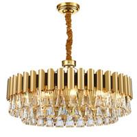 aço inoxidável nova moderna minimalista cristal LED lustre k9 anel de cristal sala de estar do hotel lâmpada ouro villa dispositivo elétrico