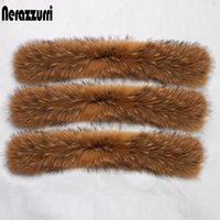 Nerazzurri natural real raccoon fur collar scarf for women detachable collar warm accessories genuine fur scarves for hood trim Y201007