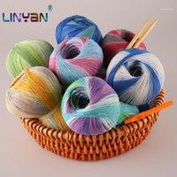 Hilo 500G Puro Natural 48% Algodón para Crochet 52% Ropa de lino SECAJE DE Punto de Seda Línea de teñido Hilo de aguja ZL451