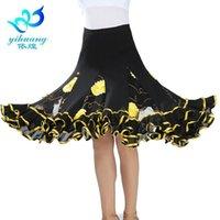 Sahne Giyim Balo Salonu Dans Kostüm Etek Modern Standart Waltz Dansçı Yarım Elbise Latin Salsa Cha Büyük Salıncak Elastik Kemer # A2537