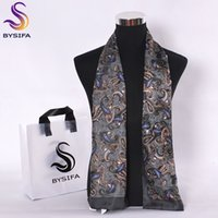 BYSIFA Men Silk lenços longa de Moda de Nova 100% Pure Silk Masculino Paisley Silk Acessórios de Moda Cachecol Negócios Cachecóis 160 * 26cm 201026