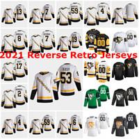 Pittsburgh Penguins 2021 Reverse Retro Hóquei Jerseys Bryan Frolz Marcus Pettersson Zach Aston-Reese Evan Rodrigues Cody Ceci Costume Costume Costume