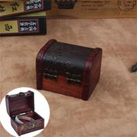 쥬얼리 파우치, 가방 세련된 나무 빈티지 보물 가슴 나무 보석 저장 상자 케이스 주최자 링 주최자 8 * 6.5 * 6cm