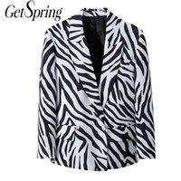 Abiti da donna Blazer Getspring Donne Suit Suit Blazer Vintage Zebra Giacche Colore Corrispondenza Abbinata Colore Cappotti Casual Cappotti casual 2021