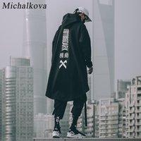 japonés Michalková sudadera para hombre Hip gran tamaño sudaderas con capucha larga capa Hop gótica Outwear la capa de Calle Harajuku Estilo Superior Masculina