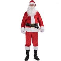 Costume de Noël Costume Santa Claus Costume Fantaisie Adulte Suit COSP COSP PISON OUTFIT 7PCS UNISEX HOMMES FEMMES XMAS Cadeau cadeau Vêtements de vêtements1