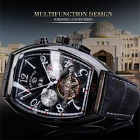 2021 Горячий продавец Forsing Top Men Watch Черный Кожаный Ремешок Бизнес Человек Наручные Часы Высококачественные Механические Автоматические Мужские Часы