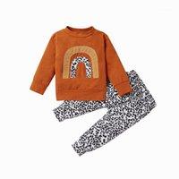 2 قطع لطيف طفل الاطفال طفل الفتيات ملابس طويلة الأكمام قوس قزح الأعلى البلوز + كشكش السراويل الطويلة ملابس set1
