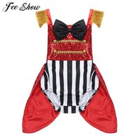 Baby Girls Senza Maniche Paillettes Bowknot a strisce Pagliaccetto Toddlers Halloween Cosplay Compleanno Party RingMaster Outfit Circus Costume C0126