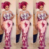 Arabic Aso Ebi Evening Dresses 2021 Sheer Jewel Neck Illusion Long Sleeve Luxury Pearls Beaded Afriican Nigerian Prom Gowns