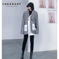 Frauenanzüge Blazers CheerArt Designer Blazer Frauen Hohe Modejacke Gefälschte Zweiteilige Mantel Damen 2021 Frühlingsbekleidung1