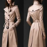 Casual Trench Coat for Women Plus Tamaño Largo Doble Breasted Slim Bretabrevientos OuterWear FZ0767