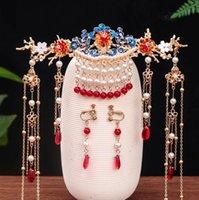 Peine Peine Insertar peine HANFU Antiguo Tocado con flecos Rojo Retro Pendientes de corona de pelo Conjuntos de la novia Conjunto de joyería