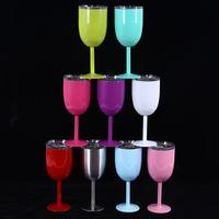 10oz vinho vidro aço inoxidável goblet óculos parede dupla bebida de gelo tumbler isolado de vácuo com tampas antiderrapante caneca 11 cor yfa2124
