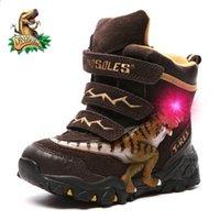 Dinoskulls niños botas de invierno nieve cuero genuino t-rex led brillante moda niños 2-8 cálidos pelos felinos botas zapatos 201130