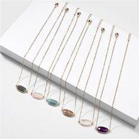 Collar oval N5593 ZWPON Slippy de piedra natural para la joyería de las mujeres al por mayor de joyería Mini Oval Gargantilla