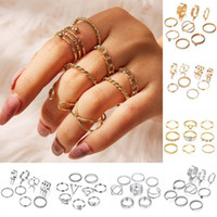 Anéis de junta de moda para mulheres oco anel empilhável boho vintage midi junta unha de dedo anéis definir 12 estilos