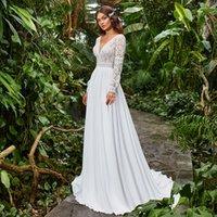 Plus Size Chiffon Wedding Dress 2020 Boho Scoop Neck Sweep Train Lace Long Sleeve A Line Bridal Gowns