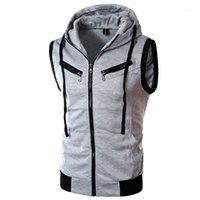 Nuova giacca da uomo senza maniche veste homme inverno moda casual cappotti maschile con cappuccio con cappuccio uomini gilet uomo ispessimento gilet1