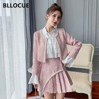Bllocue Winter New Fashion Women Tweed Cappotto corto + Gonna a vita alta pieghettata + Camicia Attiuso Temperamento Slim Two-Piece Suit 201124