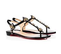 Vendita calda-Nuova Summer Heel Sandali in pelle piatta Punta aperta Black Nero Nuede in pelle, cinturino alla caviglia Donne da sposa Party Dress Shoes
