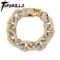 Lien, chaîne topgrillz 17mm Miami Cuban Bracelet Haute Qualité Micro Pave Glafe Out Cubic Zircone Men's Hip Hop Fashion Bijoux pour cadeau