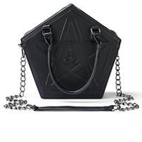 JIEROTYX Pentagram Punk Darkness Gothic звезда сумки девушки женщин черный PU мягкий кожаный мешок плеча с цепью высокого качества Q1106