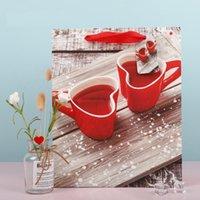 Valentine Gift Wrap Bag White Kraft Papel Heart Impreso Fiesta de cumpleaños de la boda Favors Favors Favoritas Bolsas de regalos S M L 233 N2