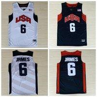 Mens Equipe EUA Kevin 5 Durant Lebron 6 James 12 Harden Russell 7 Westbrook Chris 13 Paul Deron 8 Williams Anthony Basketball Camisetas Black White Sweatpants