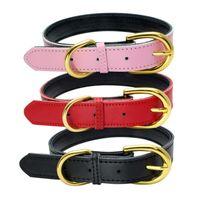 Gold Pin Boucle Collier Dog Mode Réglable Colliers de chien Colliers de chien Coulu Chiens Fournitures Accessoires de chien Vente en gros