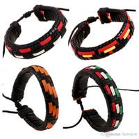 Charms Bracelets Rétro Multilayer réglable Bracelet manchette Bracelet Hommes Femmes tissé Bracelet en cuir