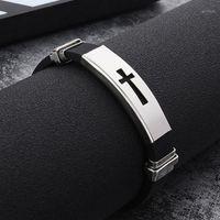 1pc silicone boucle boucle bracelets bracelage mode fraîcheur bracelet bijoux femmes hommes croix acier inoxydable1