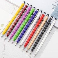 ملونة 2 في 1 المعادن الأقلام قلم شعار مخصص شاشة تعمل باللمس بالسعة القلم لتعزيز