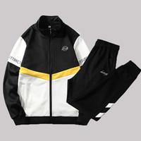 2 Pieces Sets Tracksuit Sets Mens Patchwork Zipper Sweatshirt Pants Sportswear Suits Men Autumn Casual Track Suit Clothing 4XL