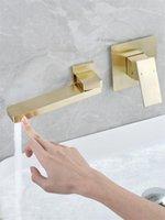 Tuqiu Bacia Faucet Wall Montado escovado Gold Girated Bathroom Faucet Torneira na parede Bacia preta Torneira Torneira Set1