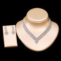 Роскошные дамы 4 Стили Элегантные женские ожерелье и серьги Набор Кубический Циркония Кулон Ожерелье Женщины Ювелирные Изделия