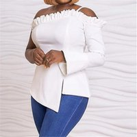 Sexy White Off Shoulder Blouse Ruffles Slash Neck One Long Sleeve Irregular Top Big Stretchy Plus Size Clthes Spring Fall 2020
