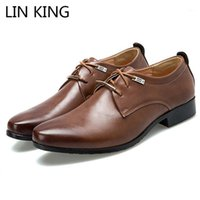 لين الملك تصميم جديد الرجال الأعمال اللباس أحذية النمط البريطاني الدانتيل يصل أشار تو أحذية جلدية عارضة الرجل الضحلة الرسمي 1