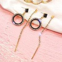 Fyuan Fashion Black Crystal Redondo AR Pendientes de aro de color dorado Largo Rhinestone Pendientes de borla para mujeres Joyería de boda1