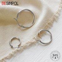 Hoop Huggie Besimpol Real 925 Sterling Silver Kolczyki 13mm / 18mm / 23mm Rozmiar Minimalistyczny Okrągły Okrąg Wedding Party Fine Jewelry