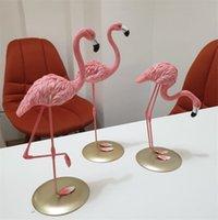 3 unids Flamingo Decoración del hogar Artesanía Romatic Boda Sala de estar Adorno Pink Mascot Store Decoración para la tienda Deco Estantshelf Ins busca de resina