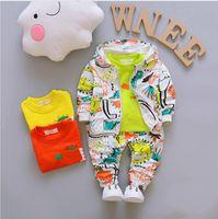 Осенние мальчики наборы одежды Детская пальто куртка + футболка + брюки 3 шт. Детские спортивные костюмы детские мальчики одежда