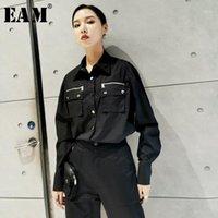 [EAM] Kadınlar Siyah Bölünmüş Ortak Mizaç Bluz Yeni Yaka Uzun Kollu Gevşek Fit Gömlek Moda Gelgit Bahar Sonbahar 2020 1 H5861